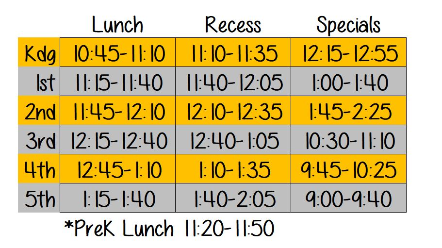 visual schedule for lunch and recess