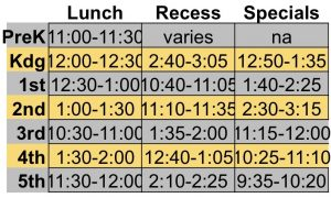 Lunch schedule for West Field